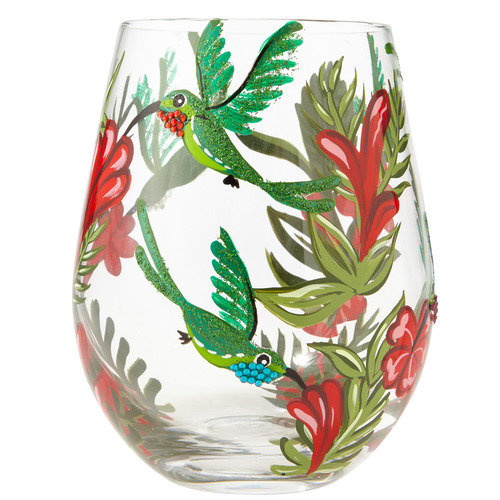 """Hummingbird"" Stemless Wine Glass by Lolita"
