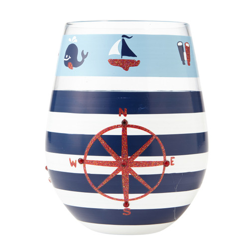 """Maritime"" Stemless Wine Glass by Lolita"