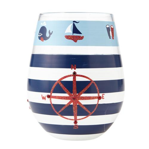 """Maritime"" Stemless Wine Glass by Lolita"