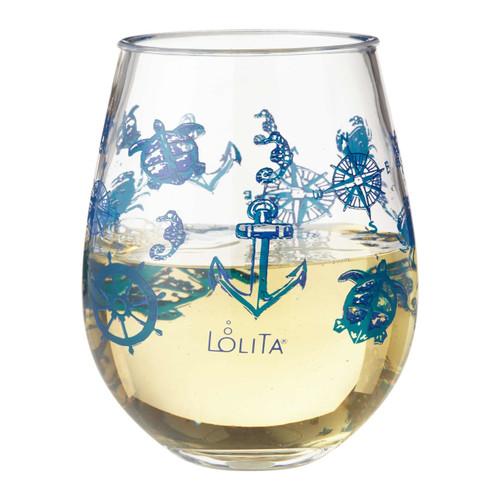 """Set Sail"" Set of 2 Acrylic Stemless Wine Glass by Lolita"