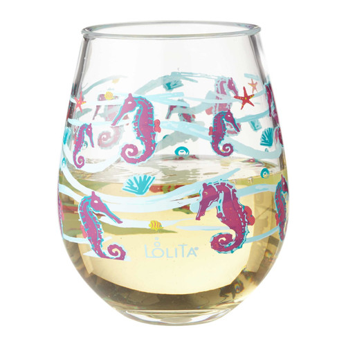 """""""Seahorse"""" Set of 2"""" Acrylic Stemless Wine Glass by Lolita"""