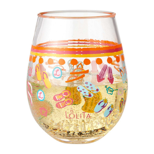 """Flip Flops Too"" Set of 2 Acrylic Stemless Wine Glass by Lolita"