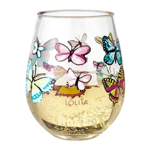 """Butterfly"" Set of 2 Acrylic Stemless Wine Glass by Lolita"