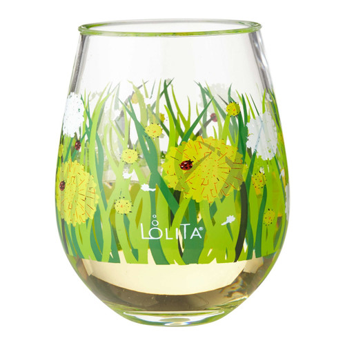 """Dandelion"" Set of 2 Acrylic Stemless Wine Glass by Lolita"