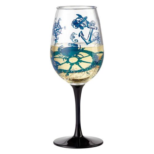 """Set Sail"" Set of 2 Acrylic Wine Glass by Lolita"