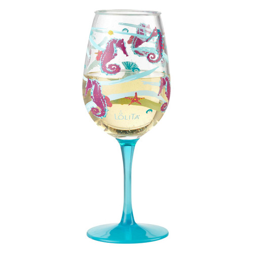 """""""Seahorse"""" Set of 2 Acrylic Wine Glass by Lolita"""