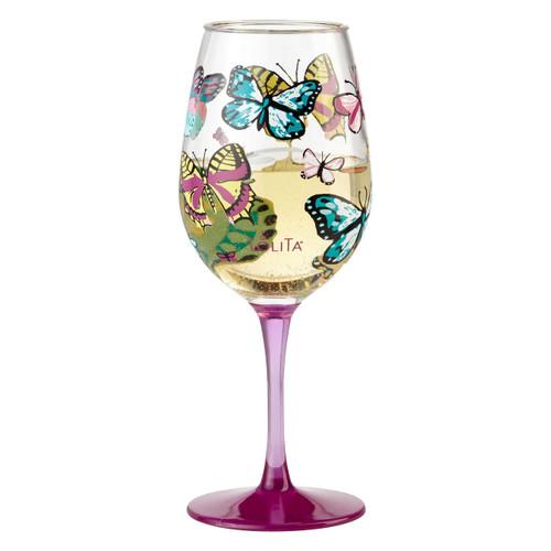 """Butterfly"" Set of 2 Acrylic Wine Glass by Lolita"