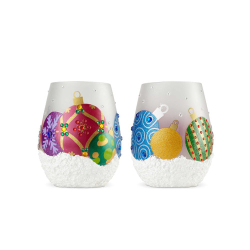 """""""Ornaments"""" Set of 2 Stemless Wine Glass by Lolita"""