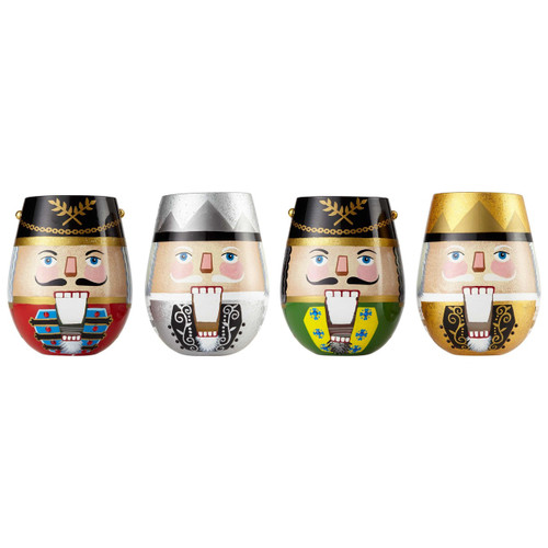 """""""Nutcrackers Suite"""" Set of 4 Stemless (Double Sided) Wine Glass by Lolita"""