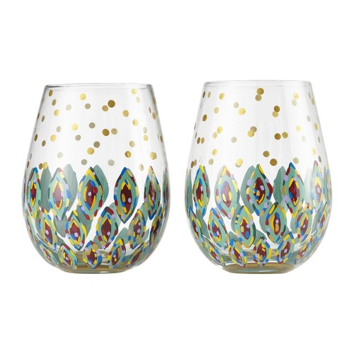 """Floral Fantasy"" Set of 2 Stemless Wine Glass by Lolita"