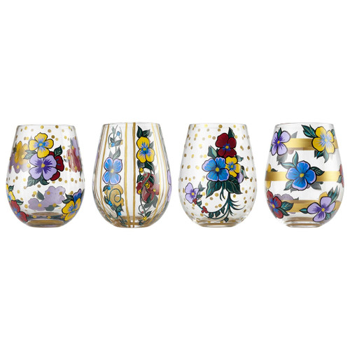 """Pansies"" Set of 4 Stemless Wine Glass by Lolita"