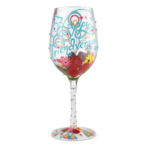 """""""Happy Friendversary"""" Wine Glass by Lolita"""