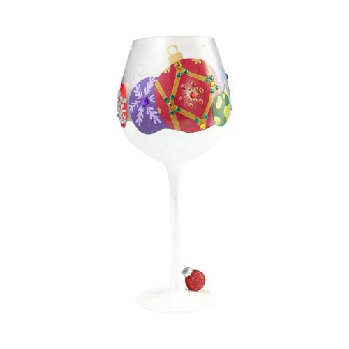 """Snow Ornament"" Super Bling Wine Glass by Lolita"