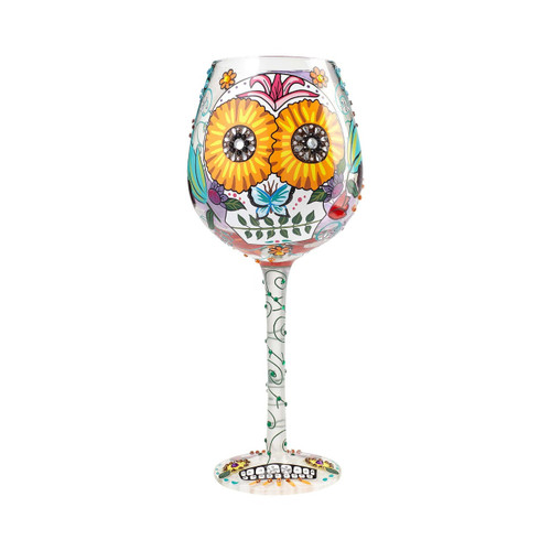 """Sugar Skulls "" Super Bling Wine Glass by Lolita"