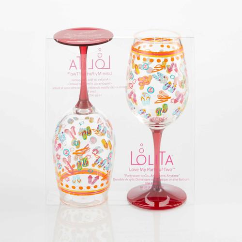 """Flip Flops"" Set of 2 Acrylic Wine Glass"