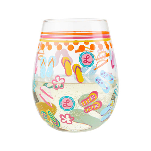 """Flip Flops"" Stemless Wine Glass by Lolita"