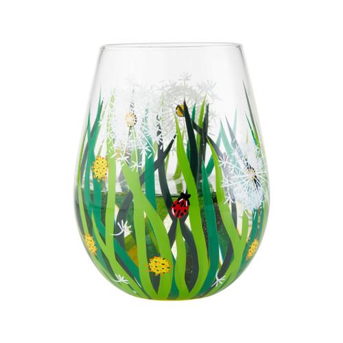 """Dandelion"" Stemless Wine Glass by Lolita"