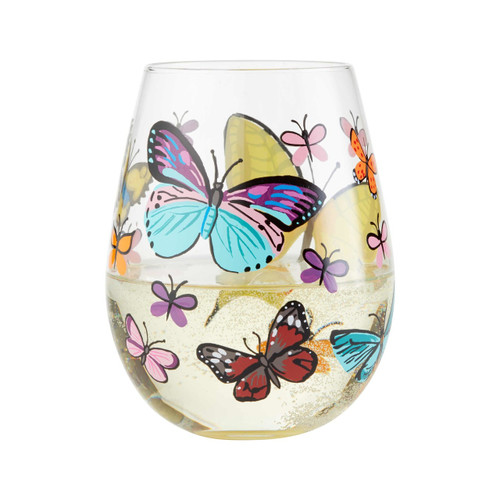 """""""Butterfly"""" Stemless Wine Glass by Lolita"""