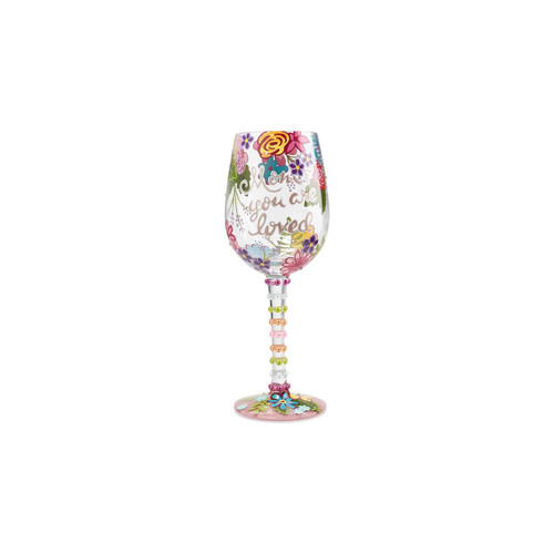 """Mom You Are Loved"" Wine Glass by Lolita"