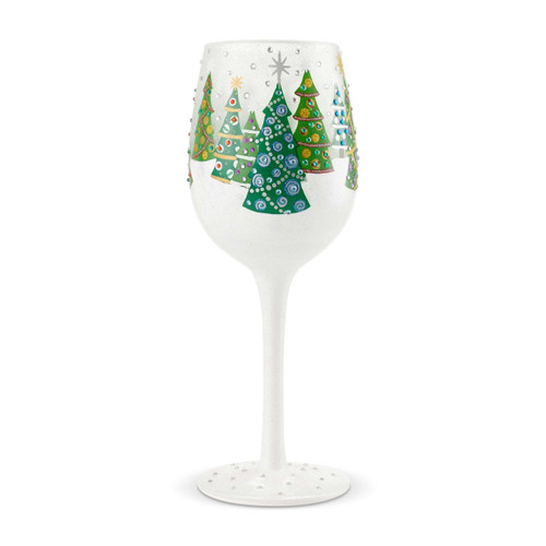 """Christmas Trees"" Wine Glass by Lolita"