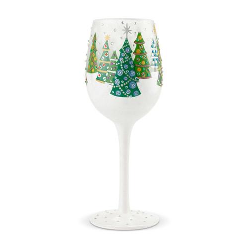 """Christmas Trees"" Wine Glass by Lolita"
