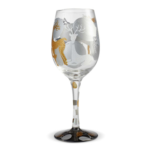"""""""Visions of Reindeer"""" Wine Glass by Lolita"""