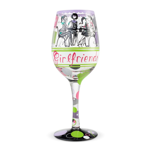 """Girlfriends"" Wine Glass by Lolita"