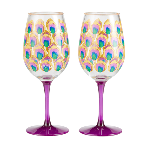 """""""Proud as a Peacock"""" Set of 2 Acrylic Wine Glass by Lolita"""