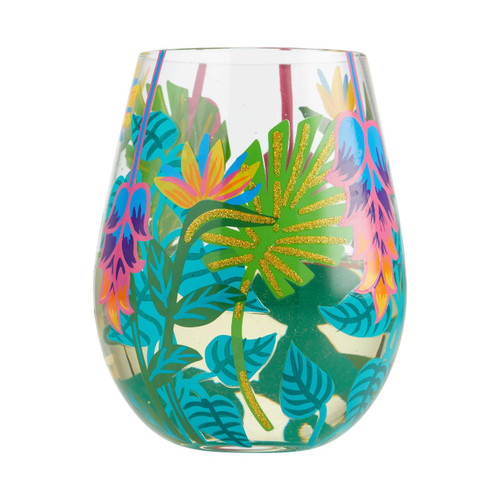 """Tropical Vibes"" Stemless Wine Glass by Lolita"