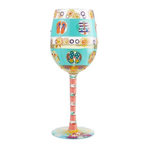 """Flip Flop Days"" Wine Glass by Lolita"