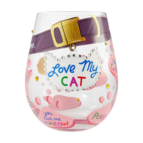 """Love My Cat"" Stemless Wine Glass by Lolita"