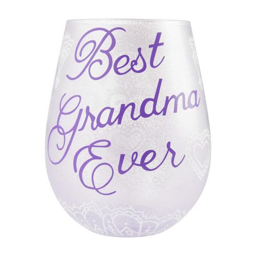 """Best Grandma Ever"" Stemless Wine Glass by Lolita"