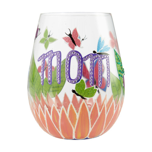 """Mom You Helped Me Fly"" Stemless Wine Glass by Lolita"