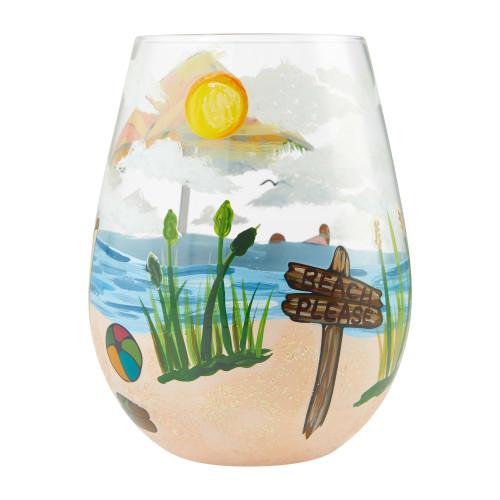 """Beach Please"" Stemless Wine Glass by Lolita"