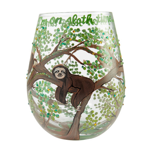"""""""Sloth Time"""" Stemless Wine Glass by Lolita"""