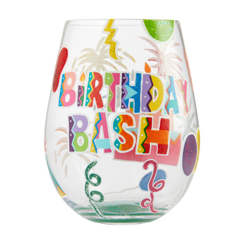 """Birthday Bash"" Stemless Wine Glass by Lolita"