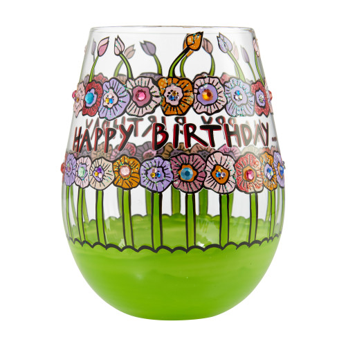 """Birthday Flowers"" Stemless Wine Glass by Lolita"