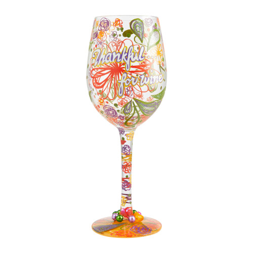 """""""Thankful for Wine"""" Wine Glass by Lolita"""