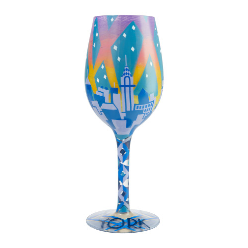 """New York Nights"" Wine Glass by Lolita"