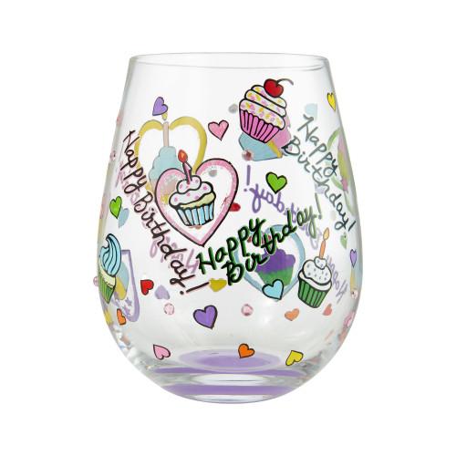 """Birthday Cupcakes"" Stemless Wine Glass by Lolita"
