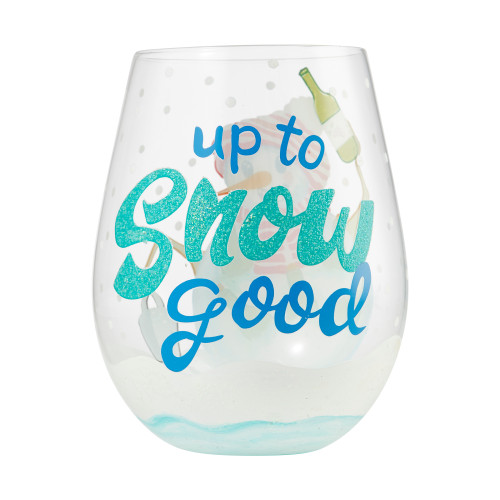 """""""Up to Snow Good"""" Stemless Wine Glass by Lolita"""