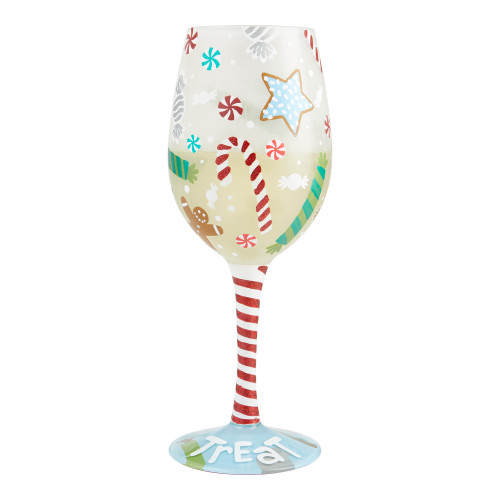 """ Holiday Treat"" Wine Glass by Lolita"