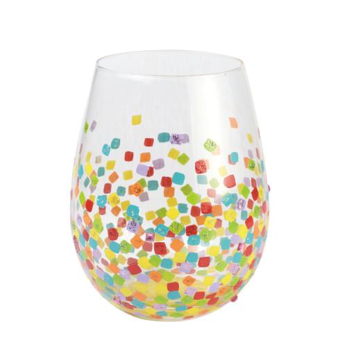 """Confetti"" Stemless Wine Glass by Lolita"