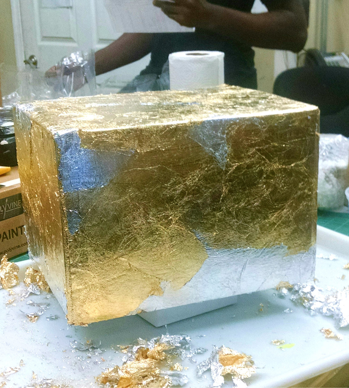 Box Being covered in Aluminum and Compo Gold  Schaibin