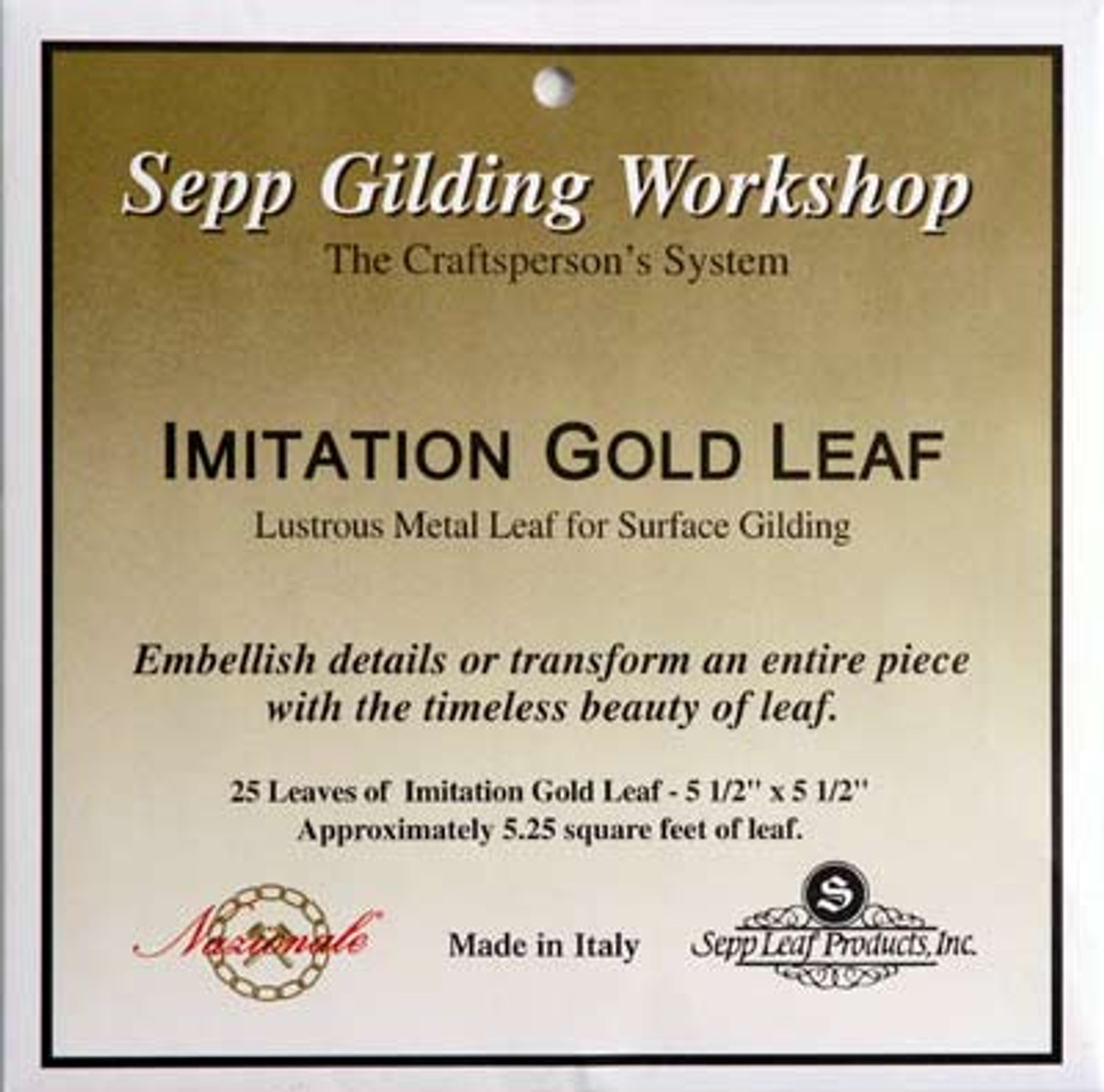Individual books of Nazionale Composition Gold Leaf,  packed under Sepp Gilding Workshop label