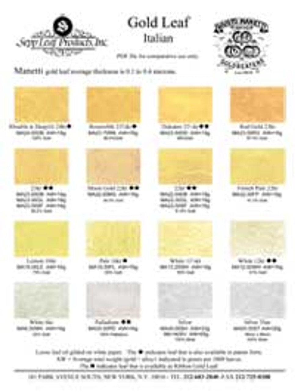 Hand gilded Manetti color chart, oil gilded swatches on neutral gray coated paper stock.