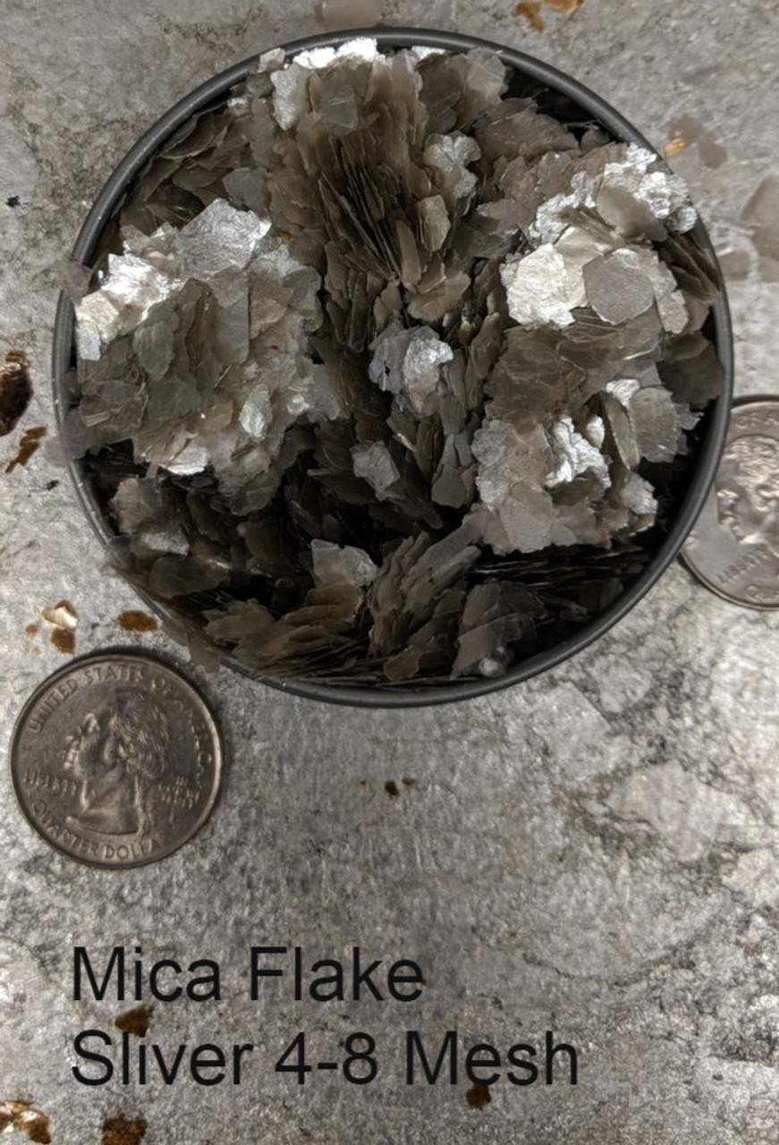 Mica Flake Silver. 4-8 Mesh