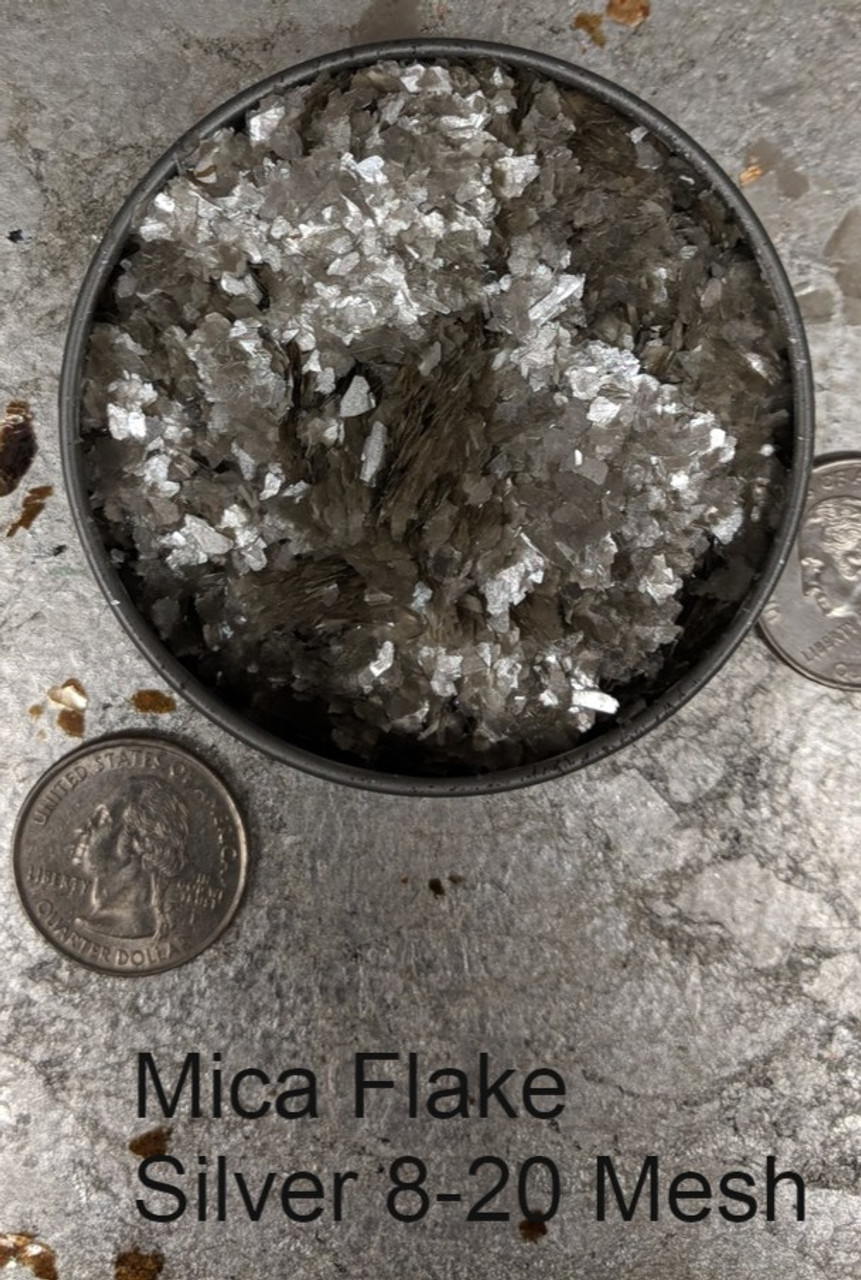 Mica Flake Silver, 8-20 Mesh