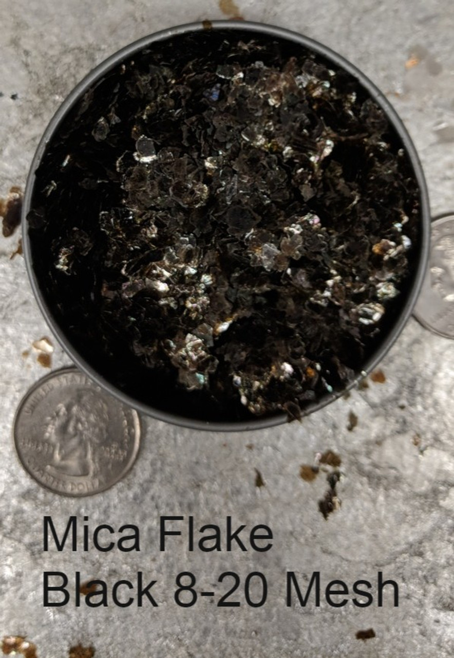 Mica Flake Black 8-20 Mesh.  This mica, because of dark natural impurities, appears black against most back grounds but still maintains a degree of transparency.