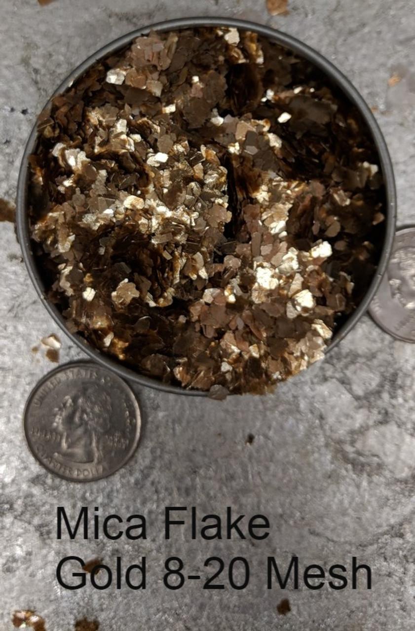 Mica Flake Gold, 8-20 Mesh